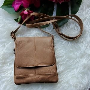 Unbranded Leather Like Tan Cross Body Bag